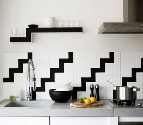 Zebra Style Zig Zag Kitchen Table Decoration