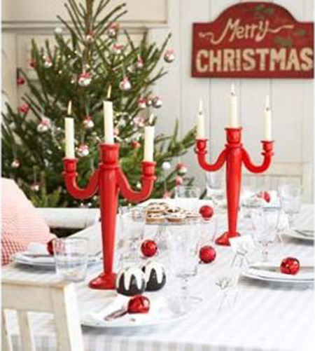 Christmas Table Decorations Red And White